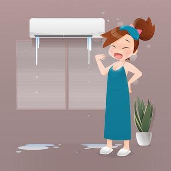 夜のエアコンの故障で眠れないイラスト女、寝室の暑さに苦しんでいる緑のネグリジェの女の子。