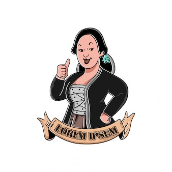 Illustration of a woman  smiling, who raises a thumb