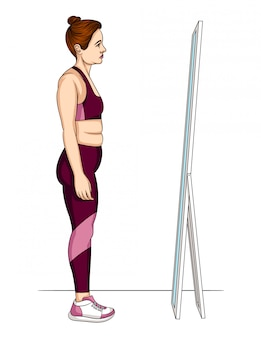 Illustration of a woman in sportswear looking at reflection in a mirror
