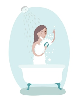 Illustration of woman taking care of personal hygiene. taking shower