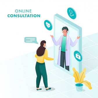 Illustration of woman talking to doctor man from video calling in  smartphone for online consultation concept.