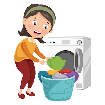Illustration of woman washing clothes