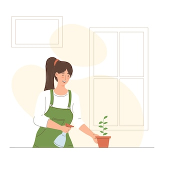 Illustration of woman watering plants in her garden