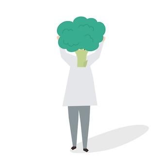 Illustration of woman with a broccoli