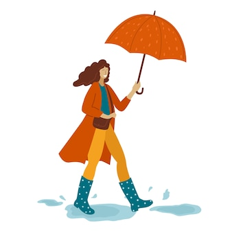 Illustration of a woman with an umbrella on an isolated background.