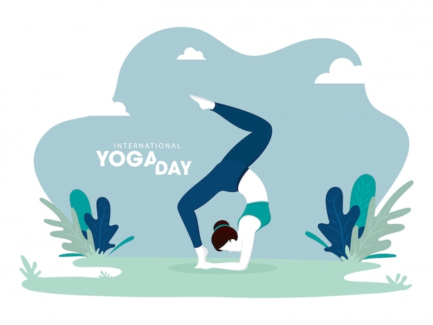 Illustration of woman in yoga pose on abstract green background