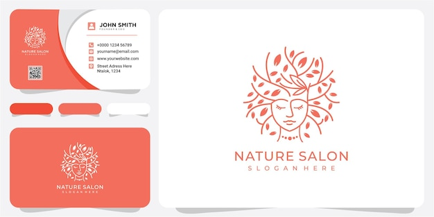 Illustration of a womans face with a tree beauty face with hair tree logo design template