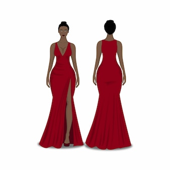 Illustration of women in red dress front and back, fashion flat sketch template