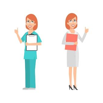 Иллюстрация, женщины-ученый и врач показывает палец вверх, формат eps 10