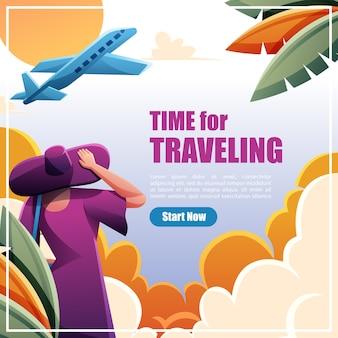 イラスト女性テンプレートデザインソーシャルメディアとポスターの旅行時間