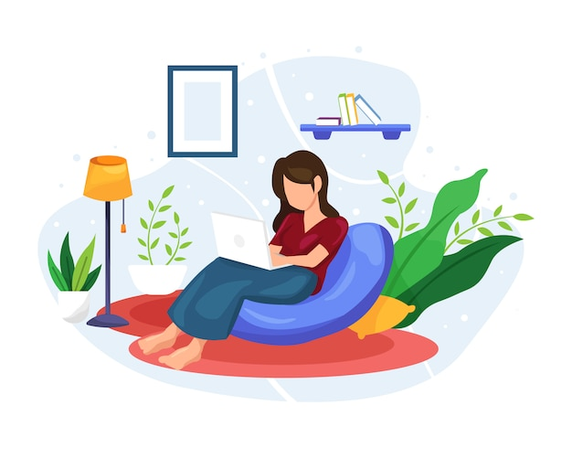 Illustration women work and relax at home