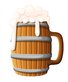 Illustration of wooden beer mug on  background. old wood cup of beer, lager or ale with foam head. pub and bar menu, alcohol beverage label, brewery symbol