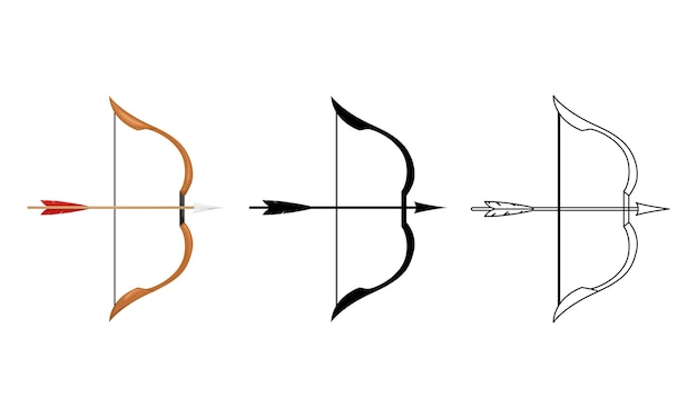 Illustration of a wooden bow with a bowstring and arrow