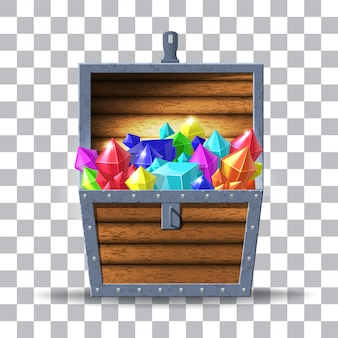 Illustration of wooden chest with diamonds