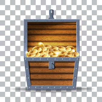 Illustration of wooden chest with money
