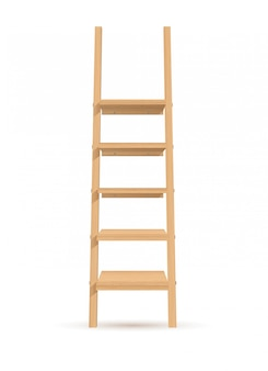 Illustration wooden ladder-shelves