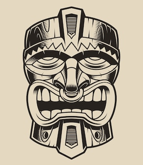 Illustration of a wooden tiki mask in the style of polanesia.