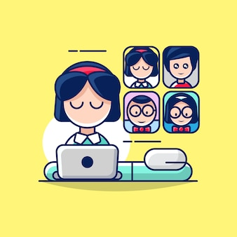 Illustration of work from home with conference call concept