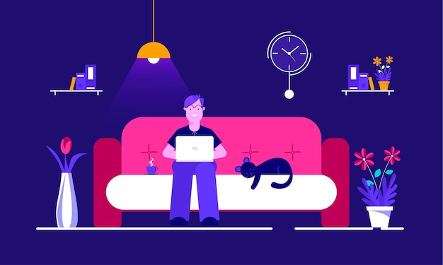 Illustration of work from home