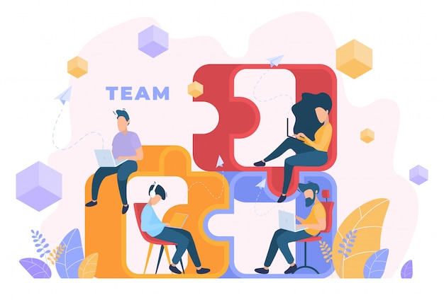 Illustration of working team