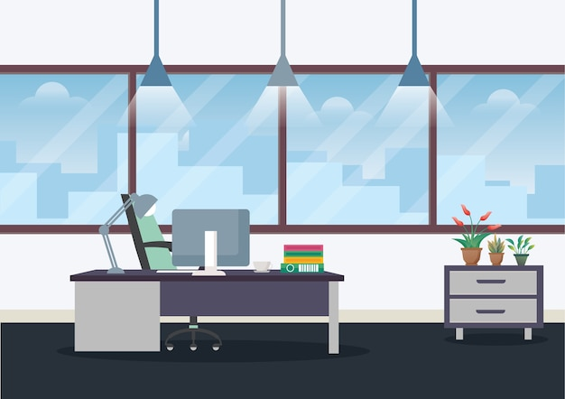 Illustration workplace in office