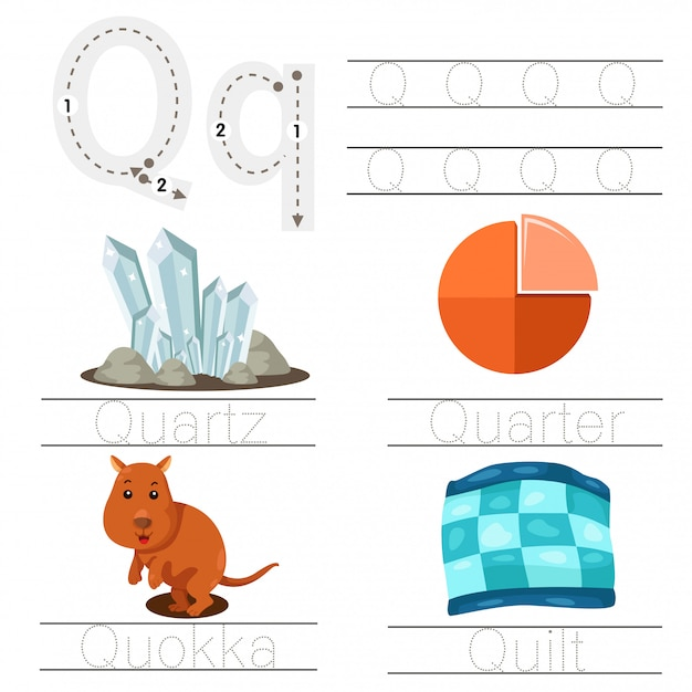 Illustration of worksheet for children q font