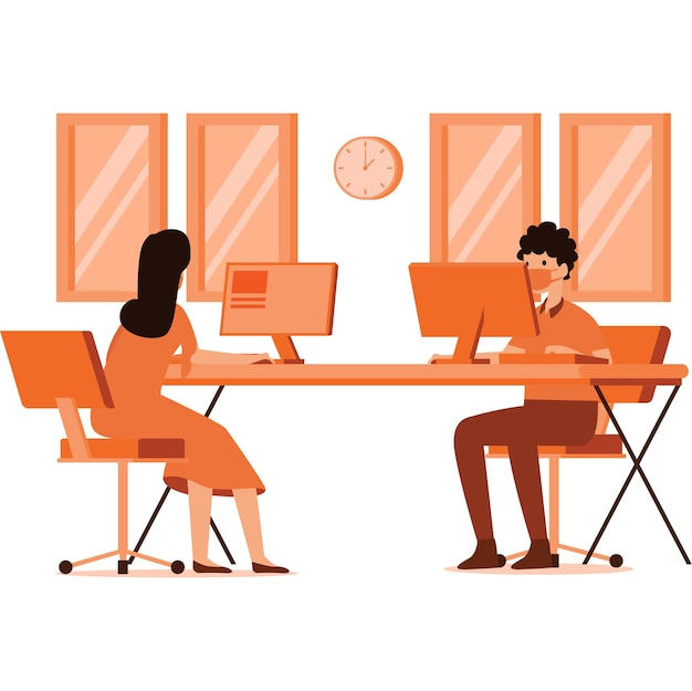 Illustration of workspace with social distancing measures