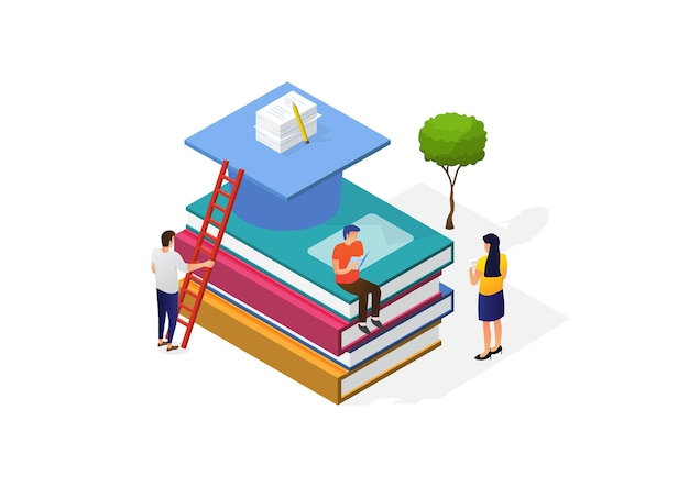 Illustration of a world book day concept. modern young people read books