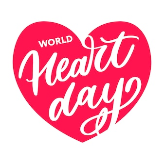 Illustration for world heart day lettering calligraphy
