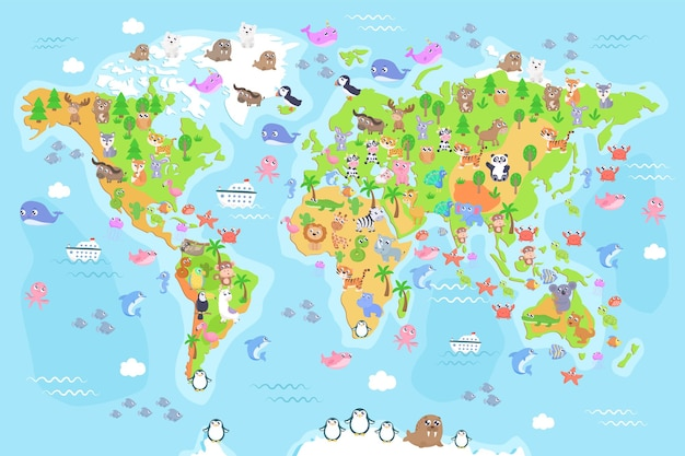 Illustration of world map with animals for kids. flat design.