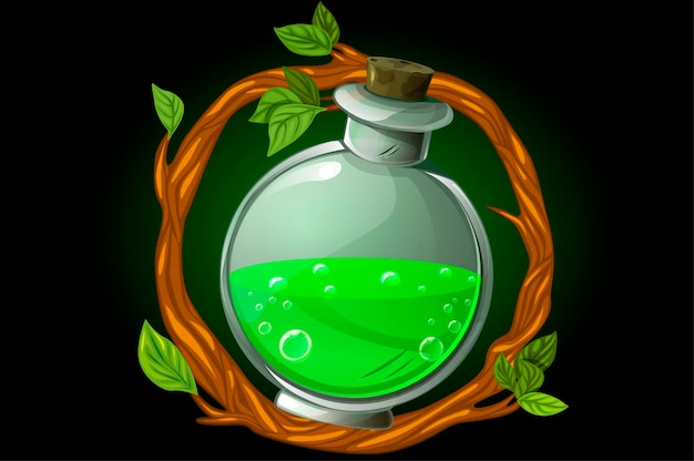 Illustration of a wreath frame with green potion