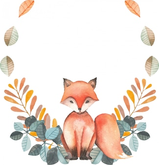 Illustration, wreath with watercolor fox, blue and orange plants, hand drawn isolated