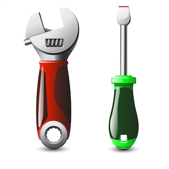 Illustration of wrench and screwdriver