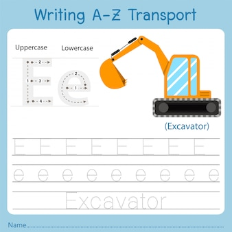Illustration of writing a-z transport e