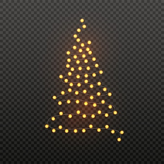 Illustration of xmas tree made by lighting garland on black transparent .  poster  for christmas.