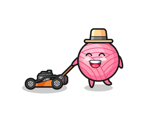 Illustration of the yarn ball character using lawn mower , cute style design for t shirt, sticker, logo element