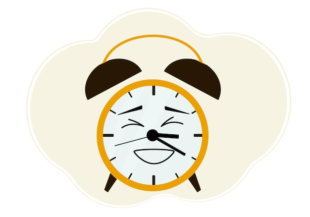 Illustration of a yellow alarm clock with a laughing emotion.