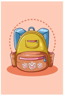 Illustration of yellow blue school bag