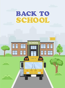 Illustration of a yellow bus approaching the school. the beginning of the school year.