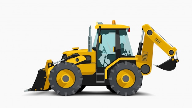 Illustration of yellow construction tractor side view with realistic shadow