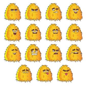 Illustration of yellow fur monster set
