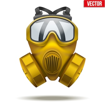 Illustration of yellow gas mask respirator. rubber rescuer symbol of defense and protect.  on white background.