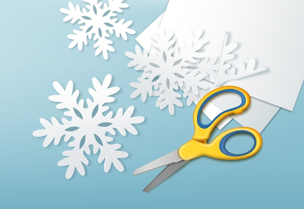 Illustration of yellow scissors and cut paper snowflakes with sheets of paper