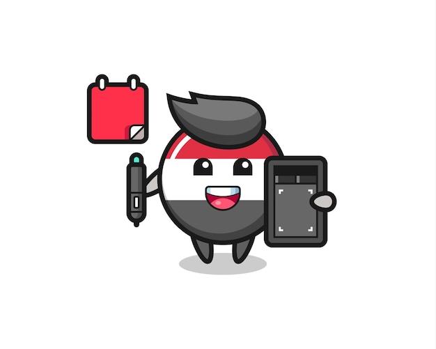 Illustration of yemen flag badge mascot as a graphic designer , cute style design for t shirt, sticker, logo element