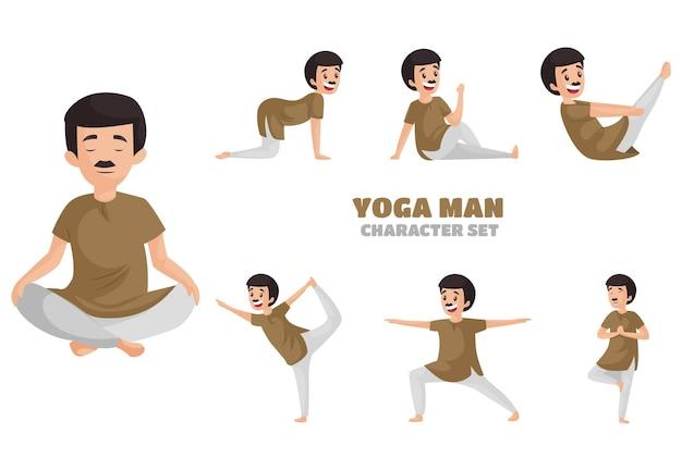 Illustration of yoga man character set