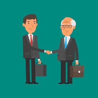 Иллюстрация, молодой и старый бизнесмен пожимают друг другу руки, формат eps 10