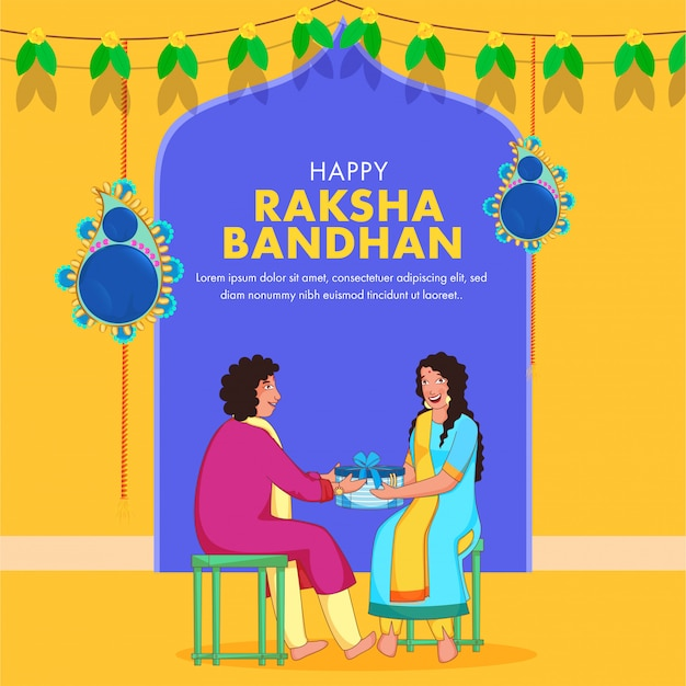 Illustration of young boy giving a gift box to his sister on blue and yellow background for happy raksha bandhan.