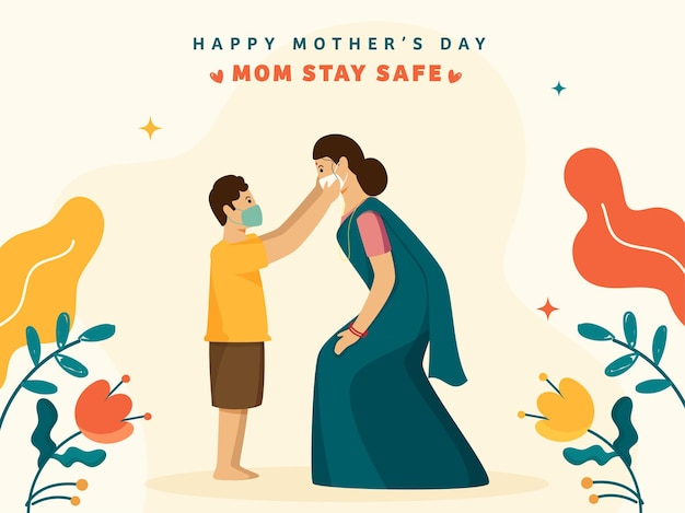 Illustration of young boy and his mother wear protective mask