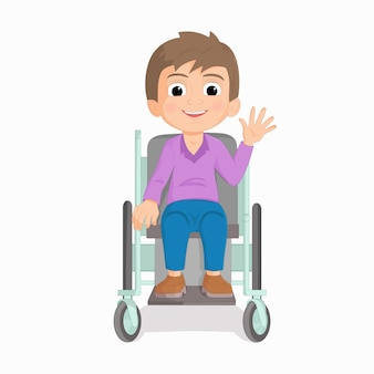 Illustration of a young boy riding on a wheelchair