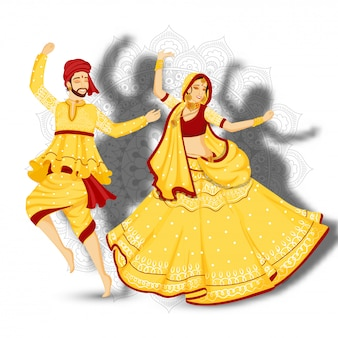 Illustration of young couple dancing garba pose on white mandala floral background.